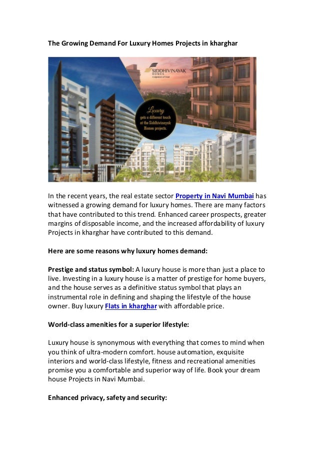9e2c735cb The growing demand for luxury homes projects in kharghar