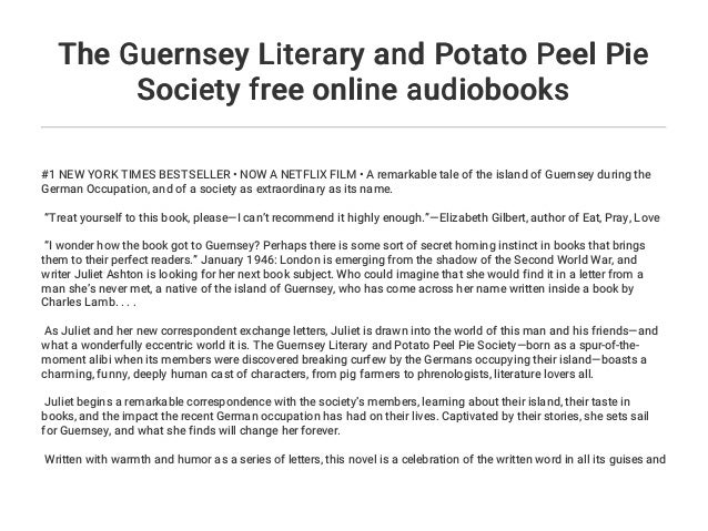 the guernsey literary and potato peel pie society online free