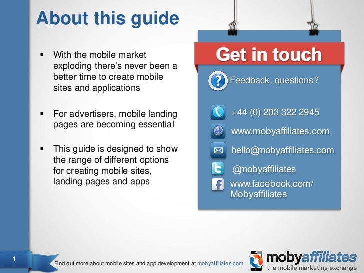 The guide to building mobile sites landing pages and apps