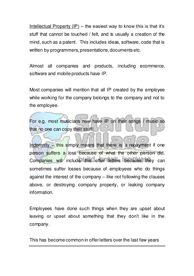 A guide to the employee offer letter 6 intellectual property spiritdancerdesigns Images