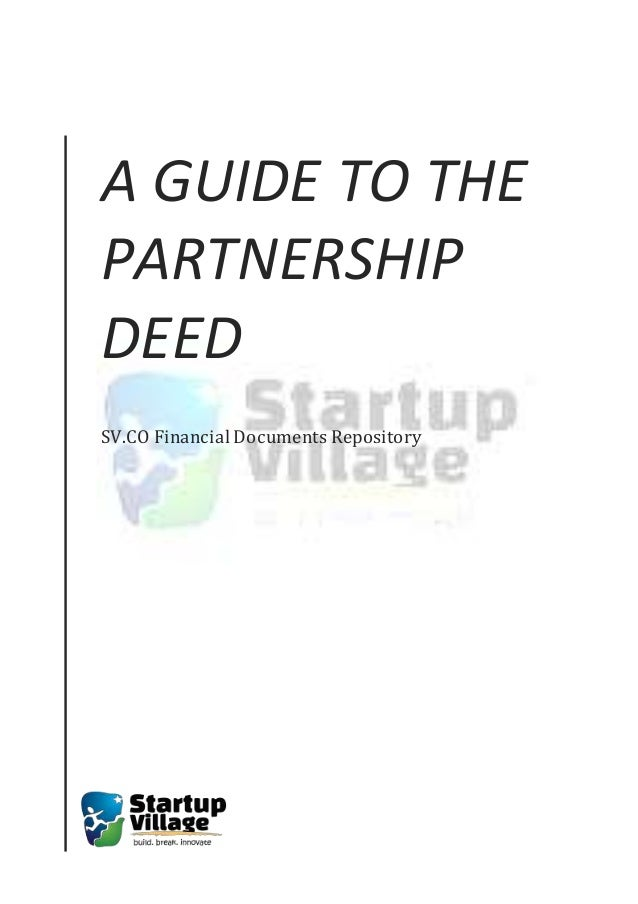 A Guide to the Partnership Deed