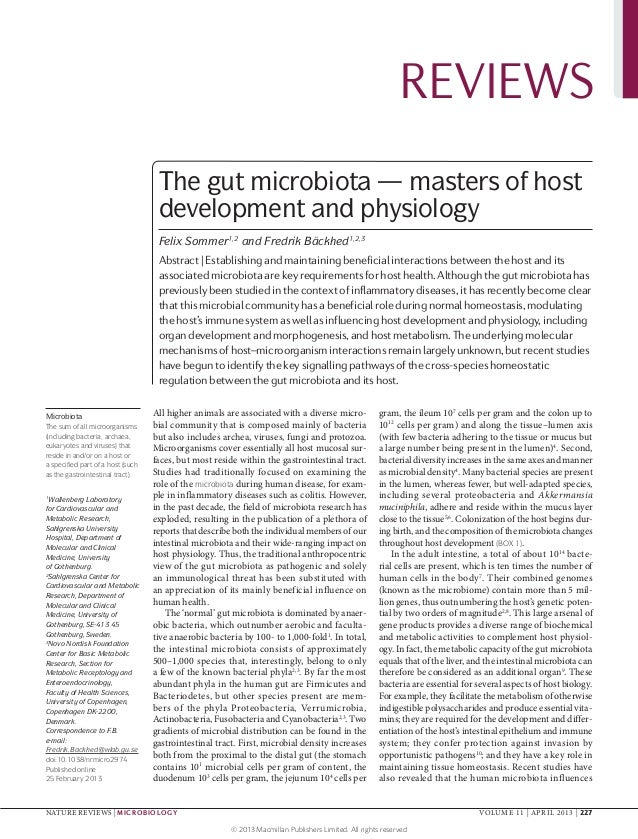 REVIEWS                                    The gut microbiota — masters of host                                    develop...