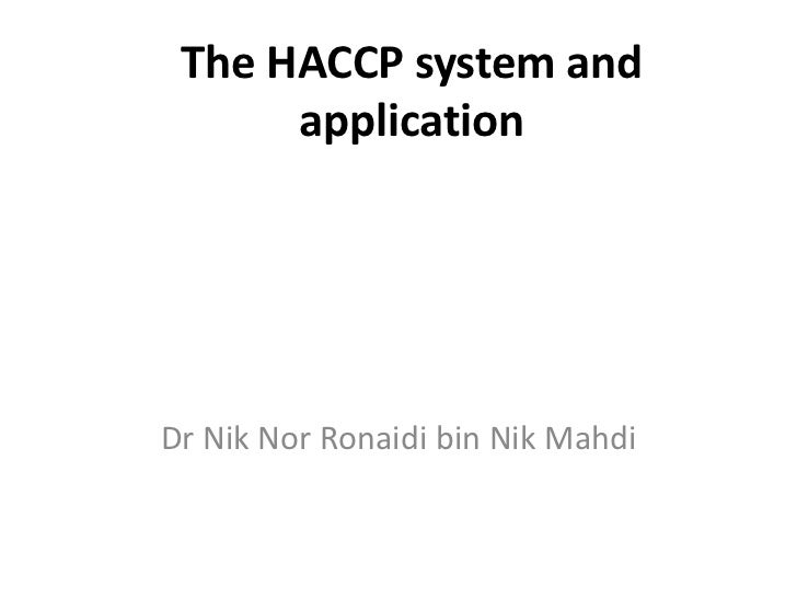 The haccp system and application