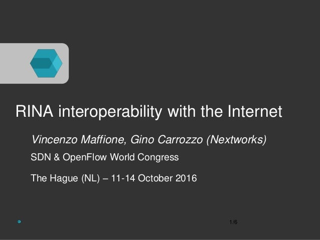 RINA interoperability with the Internet Vincenzo Maffione, Gino Carrozzo (Nextworks) SDN & OpenFlow World Congress The Hag...