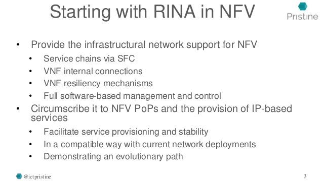 Starting with RINA in NFV • Provide the infrastructural network support for NFV • Service chains via SFC • VNF internal co...