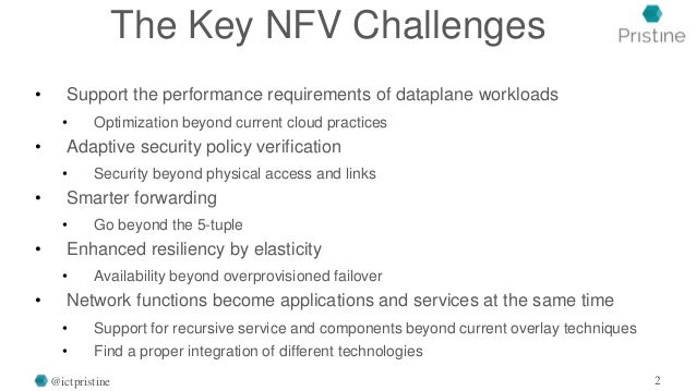 The Key NFV Challenges • Support the performance requirements of dataplane workloads • Optimization beyond current cloud p...