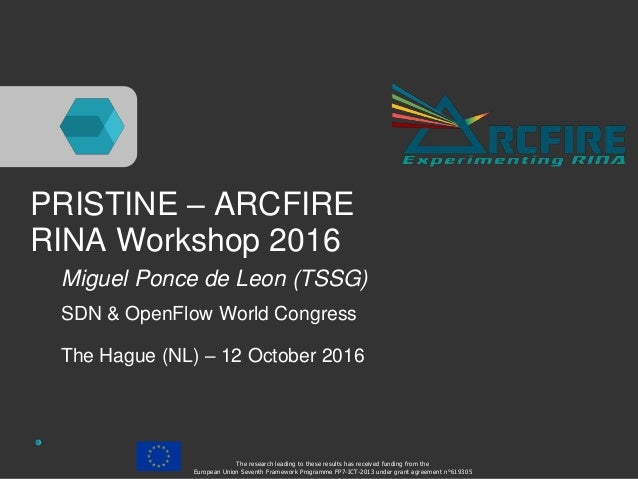 PRISTINE – ARCFIRE RINA Workshop 2016 Miguel Ponce de Leon (TSSG) SDN & OpenFlow World Congress The Hague (NL) – 12 Octobe...