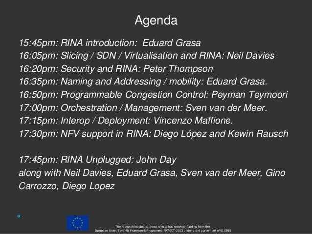 Agenda 15:45pm: RINA introduction: Eduard Grasa 16:05pm: Slicing / SDN / Virtualisation and RINA: Neil Davies 16:20pm: Sec...