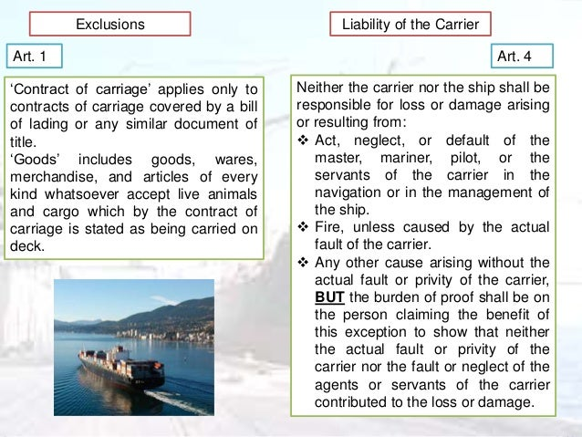 application of the hague visby rule 15 hague, visby, hamburg and rotterdam a maritime tour of northern europe francis reynolds, qc professor emeritus, university of oxford the topic of carriage of goods by sea under bills of lading has been the subject of compulsory regulation, or proposed regulation, four times in the last 85 years.