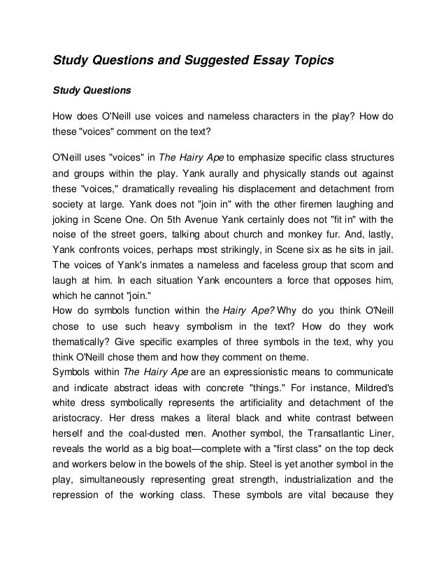 "the hairy ape essay The hairy ape order instructions: based on what you know about bullying by today's standards- in school, work, or social environment-is yank in ""the hairy ape"" by eugene o'neill the bully or bullied."