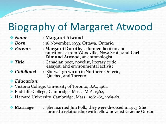 "the handmaidís tale by margaret atwood essay An essay last sunday about margaret atwood's novel ""the handmaid's tale""  misspelled the surname of the canadian general who was the."