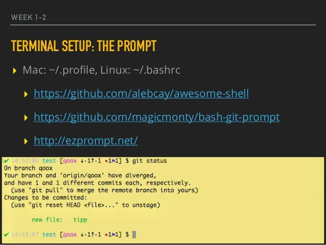 WEEK 1-2 TERMINAL SETUP: THE PROMPT ▸ Mac: ~/.profile, Linux: ~/.bashrc ▸ https://github.com/alebcay/awesome-shell ▸ https:...