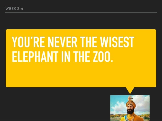 YOU'RE NEVER THE WISEST ELEPHANT IN THE ZOO. WEEK 2-4