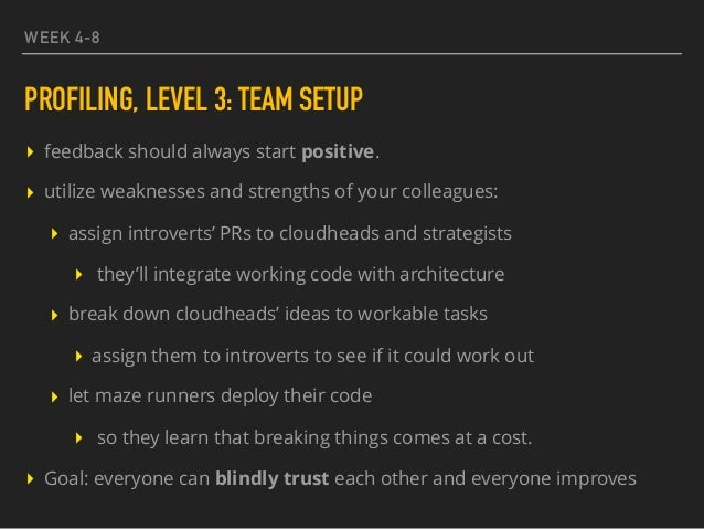 WEEK 4-8 PROFILING, LEVEL 3: TEAM SETUP ▸ feedback should always start positive. ▸ utilize weaknesses and strengths of you...