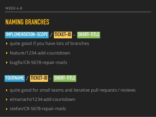 WEEK 4-8 NAMING BRANCHES ▸ quite good if you have lots of branches ▸ feature/1234-add-countdown ▸ bugfix/CR-5678-repair-mai...