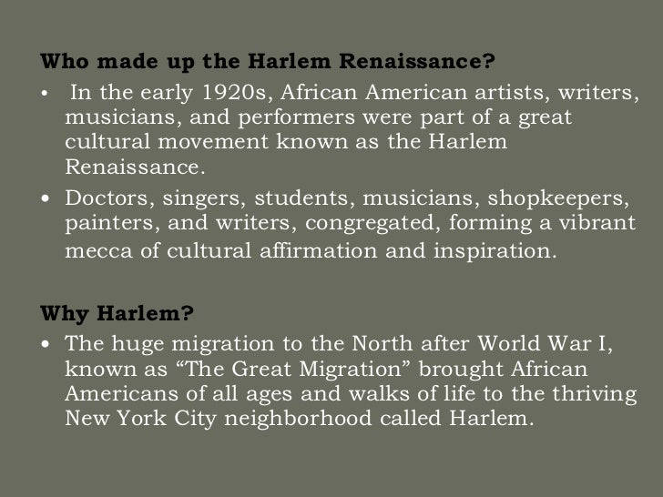 an analysis of the african american cultural movement of the 1920s and early 1930s Free college essay the harlem renaissance harlem renaissance was an african american cultural movement of the 1920s and early 1930s that was centered in the harlem.