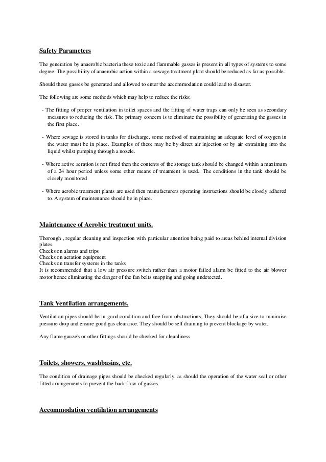 The hazards and regulations regarding the sewage systems Slide 2