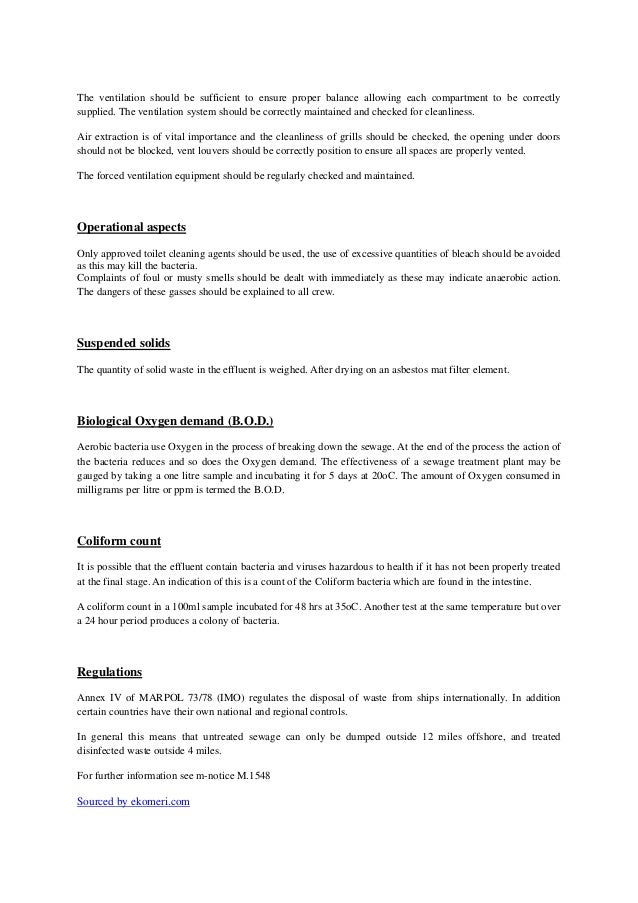 The hazards and regulations regarding the sewage systems Slide 3