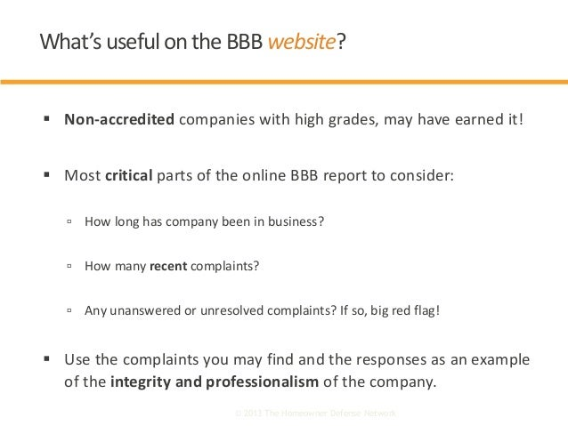  Non-accredited companies with high grades, may have earned it!  Most critical parts of the online BBB report to conside...
