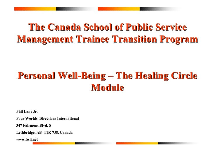 The Canada School of Public Service Management Trainee Transition Program Personal Well-Being – The Healing Circle Module ...