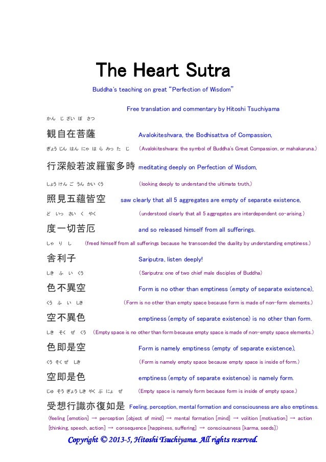 "The Heart SutraThe Heart SutraThe Heart SutraThe Heart Sutra Buddha's teaching on great ""Perfection of Wisdom"" Free transl..."