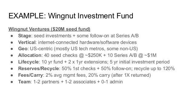 EXAMPLE: Wingnut Investment Fund Wingnut Ventures ($20M seed fund) ● Stage: seed investments + some follow-on at Series A/...