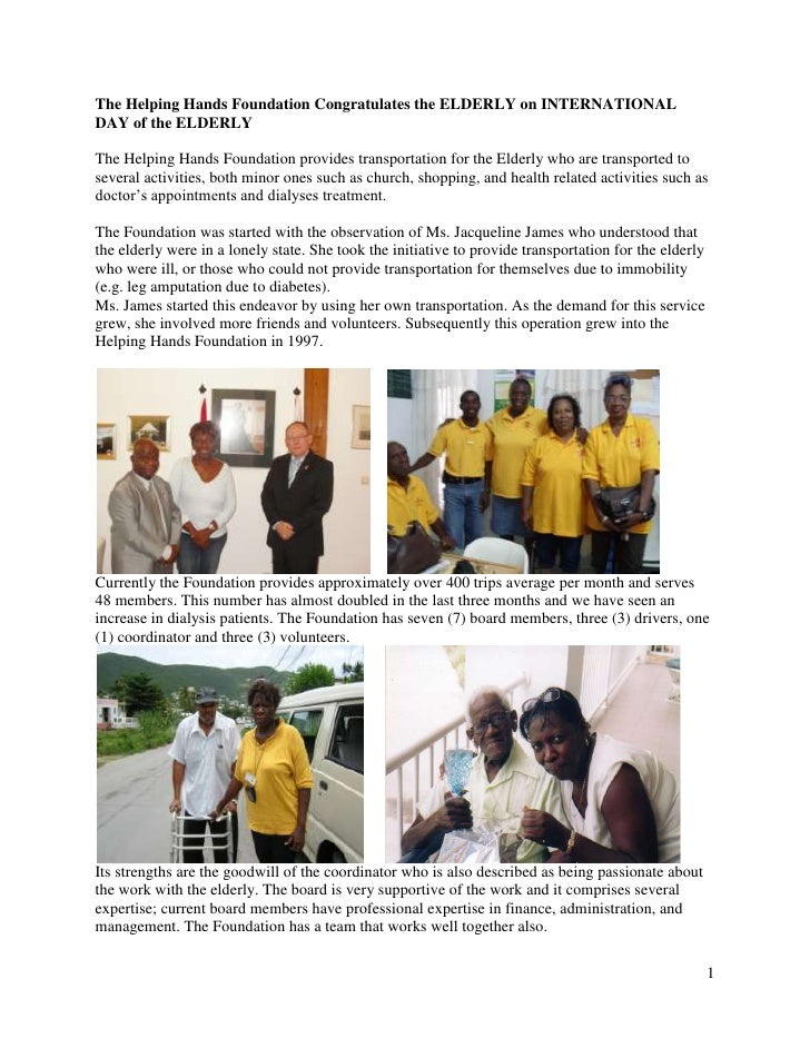 The Helping Hands Foundation Congratulates the ELDERLY on INTERNATIONAL DAY of the ELDERLY<br />The Helping Hands Foundati...