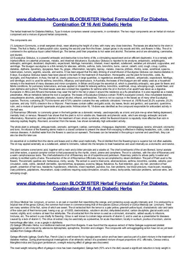 www.diabetes-herbs.com BLOCBUSTER Herbal Formulation For Diabetes.                      Combination Of 16 Anti Diabetic He...
