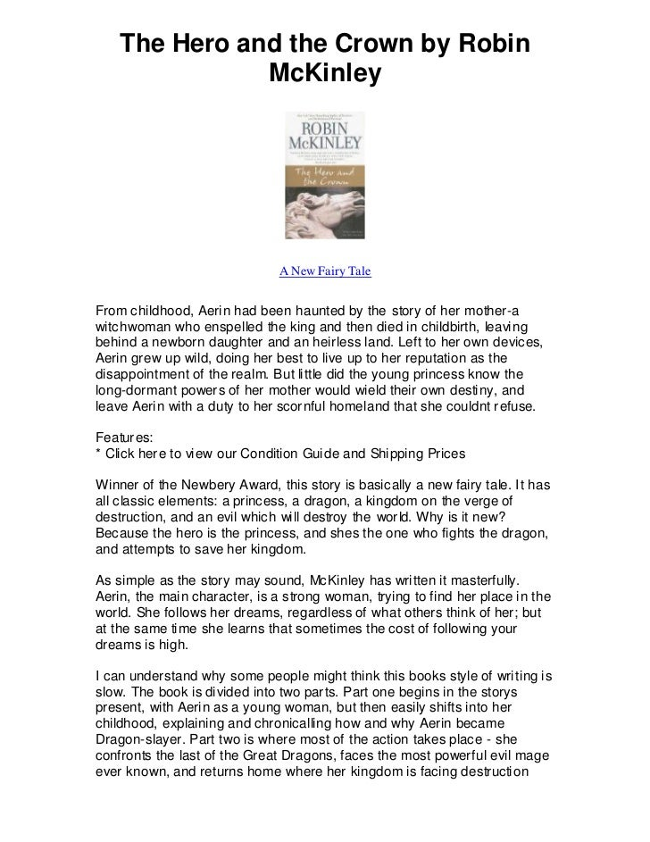 The Hero and the Crown by Robin               McKinley                               A New Fairy TaleFrom childhood, Aerin...