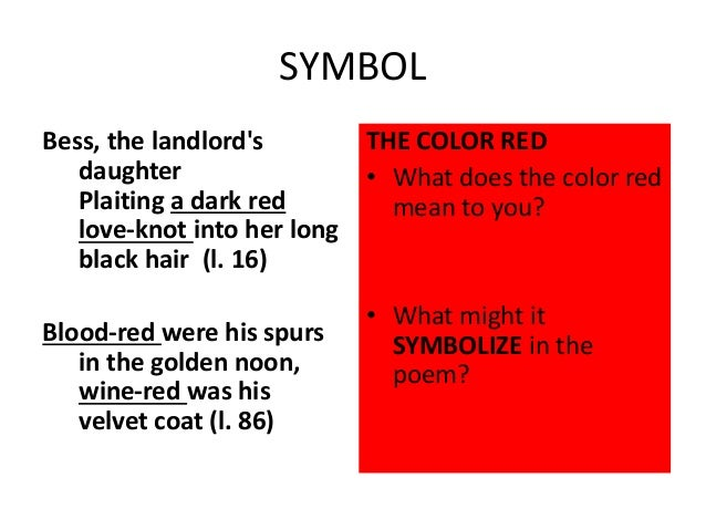 What Does The Color Red Mean the highwayman and annabel lee: forms and structures
