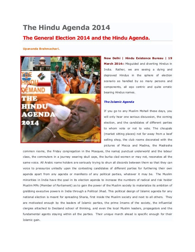 The Hindu Agenda 2014 The General Election 2014 and the Hindu Agenda. Upananda Brahmachari. New Delhi   Hindu Existence Bu...