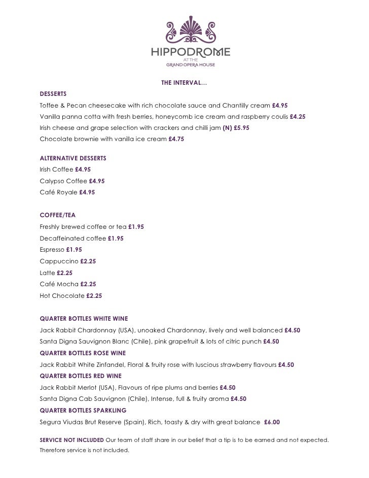 Hippodrome Restaurant Belfast Menu