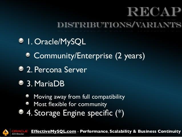 Recap Distributions/V ariants  1. Oracle/MySQL Community/Enterprise (2 years) 2. Percona Server 3. MariaDB Moving away fro...