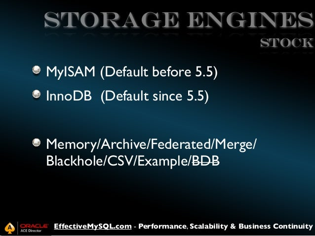 Storage Engines stock  MyISAM (Default before 5.5) InnoDB (Default since 5.5) Memory/Archive/Federated/Merge/ Blackhole/CS...