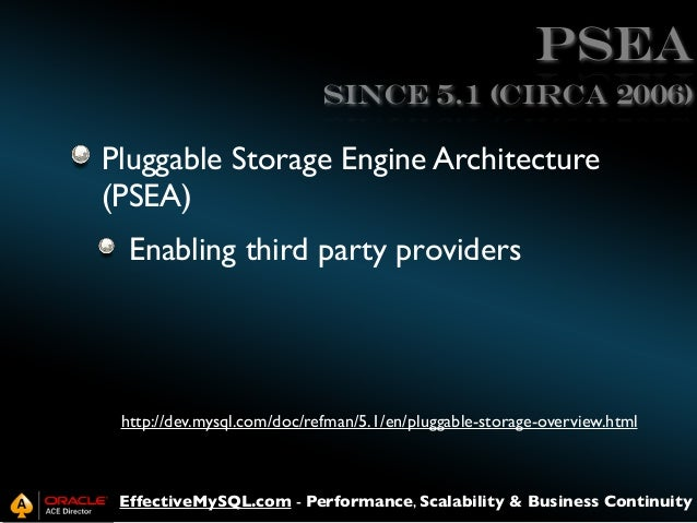 PSEA Since 5.1 (circa 2006)  Pluggable Storage Engine Architecture (PSEA) Enabling third party providers  http://dev.mysql...