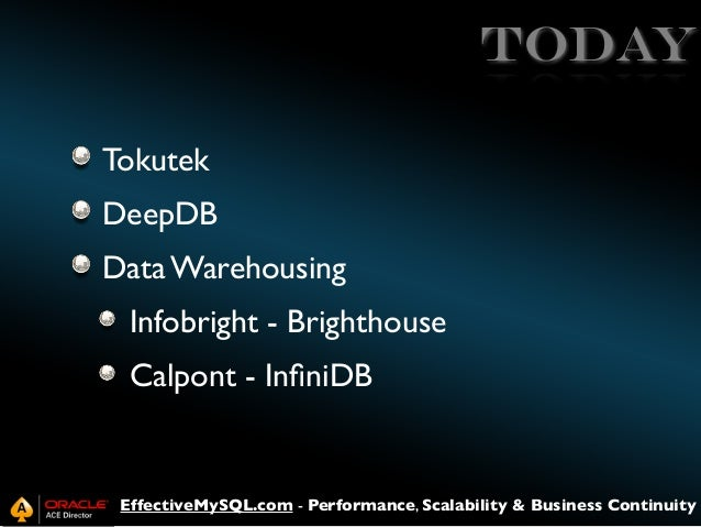 TODAY Tokutek DeepDB Data Warehousing Infobright - Brighthouse Calpont - InfiniDB  EffectiveMySQL.com - Performance, Scalab...