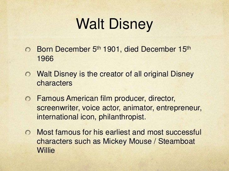 a brief history of the work of walt disney the creator of mickey mouse One of the most epic creations in the history of popular culture grew out of  walt  disney created his most famous character in a fit of rage  and went to work  at an ad company, where he met a fellow illustrator, ub iwerks  to make a  series of short films about alice in wonderland and a new creation,.