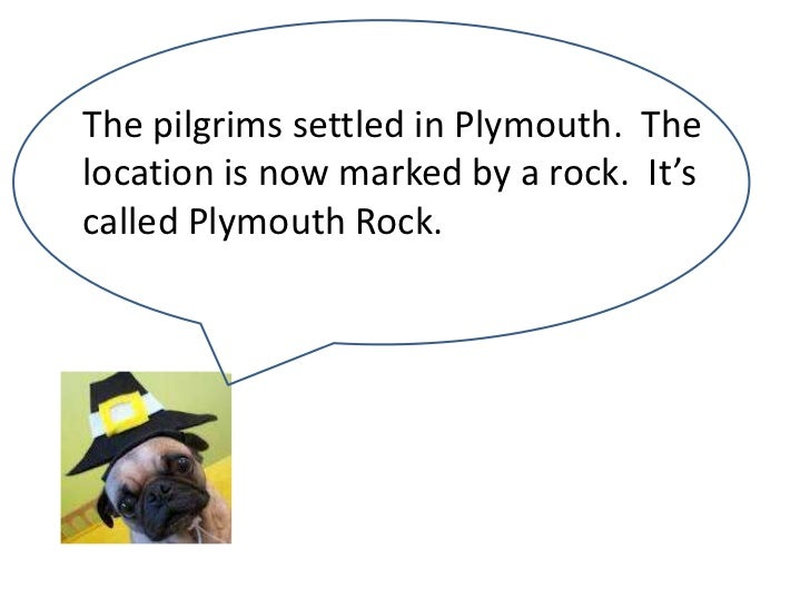 The pilgrims settled in Plymouth. Thelocation is now marked by a rock. It'scalled Plymouth Rock.
