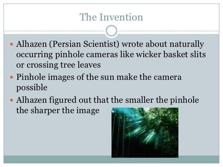 The history of the pinhole camera Slide 3