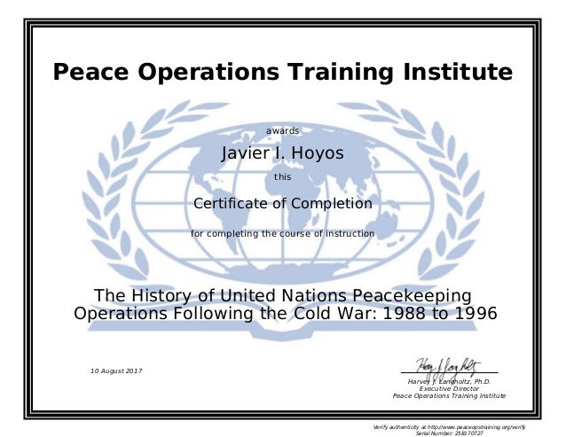 The History of United Nations Peacekeeping Operations Following the C…