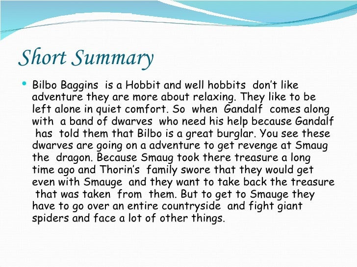 The hobbit detailed summary