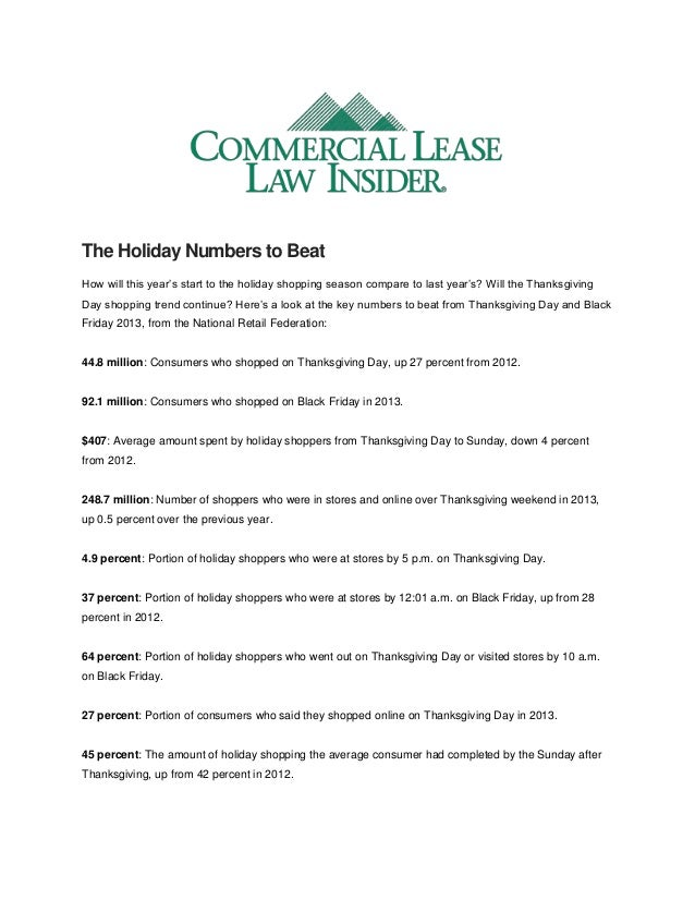 The Holiday Numbers to Beat How will this year's start to the holiday shopping season compare to last year's? Will the Tha...