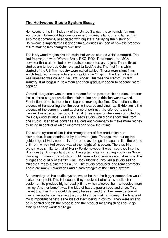hollywood essay