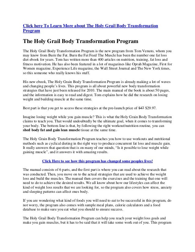 Click here To Learn More about The Holy Grail Body Transformation Program The Holy Grail Body Transformation Program The H...