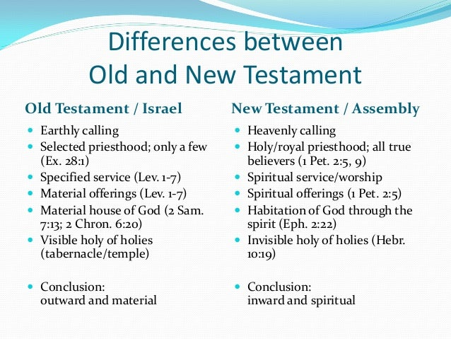 a comparison of new testament and old testament Free essays from bartleby | new testament survey the new testament ushers in a new dawn in time, the old testament laid the foundation about god the great.