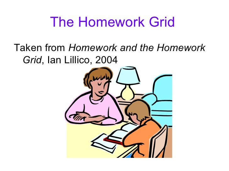 The Homework GridTaken from Homework and the Homework Grid, Ian Lillico, 2004