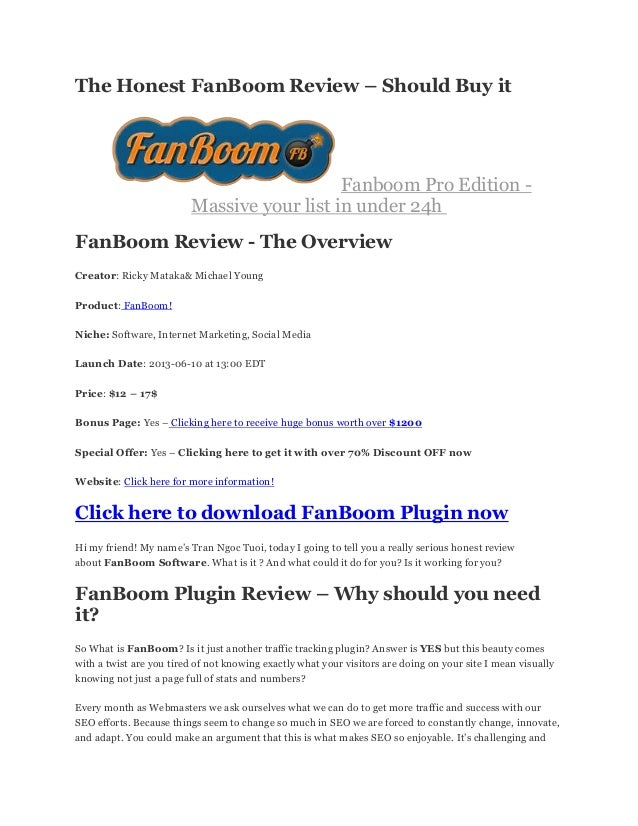 The Honest FanBoom Review – Should Buy it Fanboom Pro Edition - Massive your list in under 24h FanBoom Review - The Overvi...
