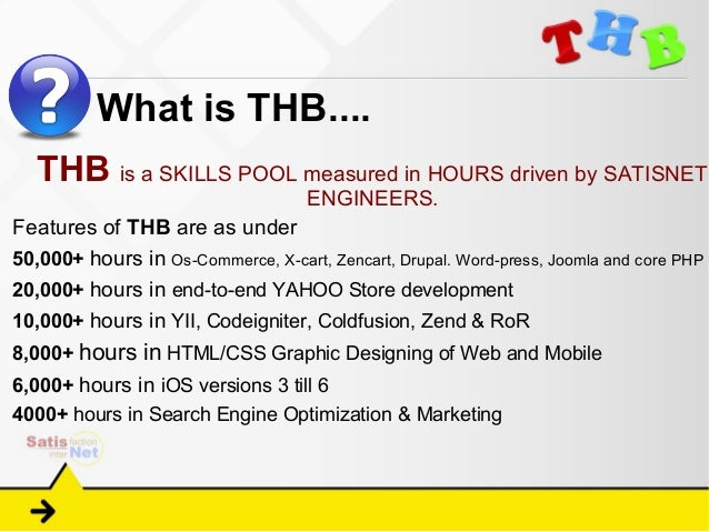 What is THB....   THB is a SKILLS POOL measured in HOURS driven by SATISNET                                    ENGINEERS.F...