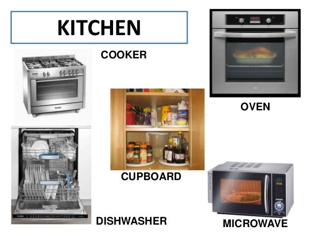 KITCHEN COOKER OVEN CUPBOARD DISHWASHER MICROWAVE. The house vocabulary