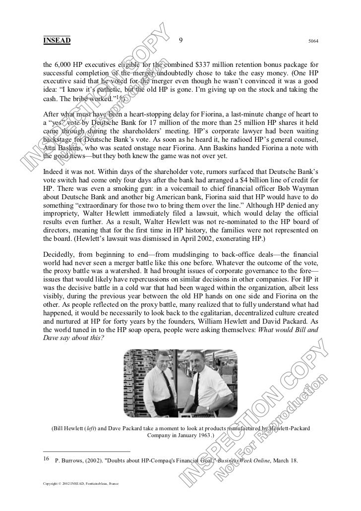 hp compaq merger essay And she remains resolute in her public speeches that the biggest and most bitterly fought decision of her hp tenure - to merge the company with compaq computer corp - has proved a success.